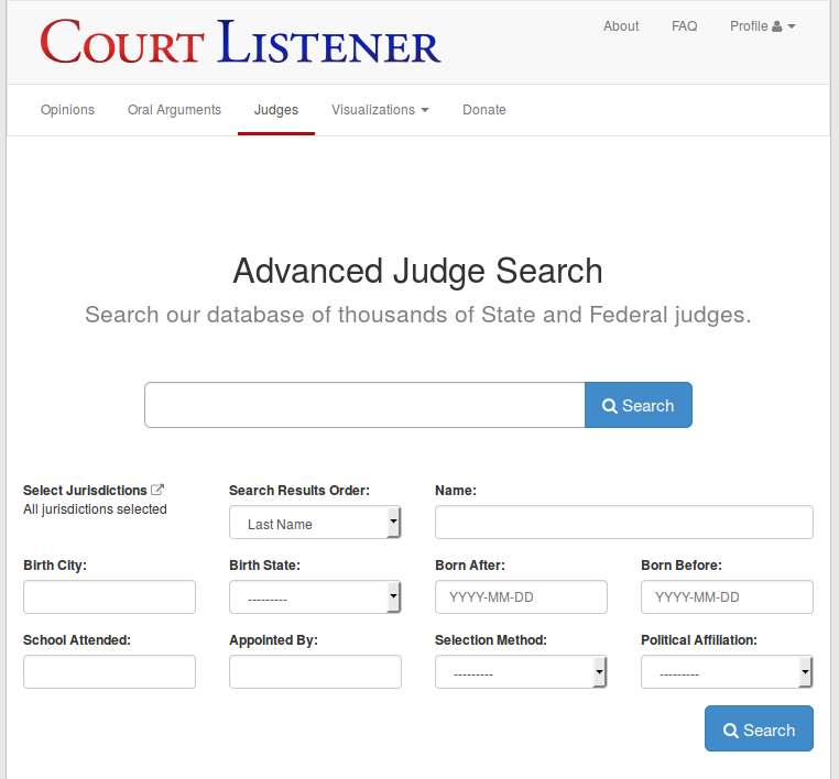 Screenshot of the Judge Advanced Search page