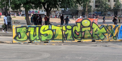 Street art reading Justice