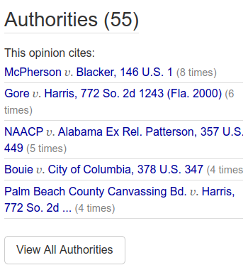 Authorities sidebar with citation counts