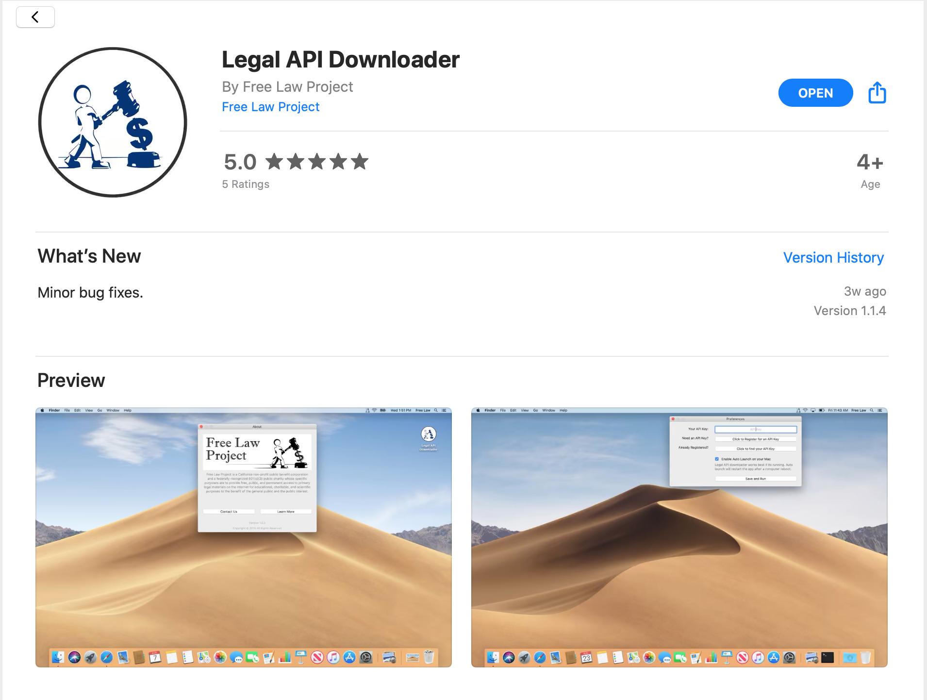 Legal API Downloader Page