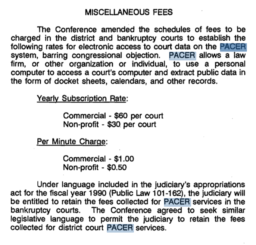 Screenshot of PACER fee changes