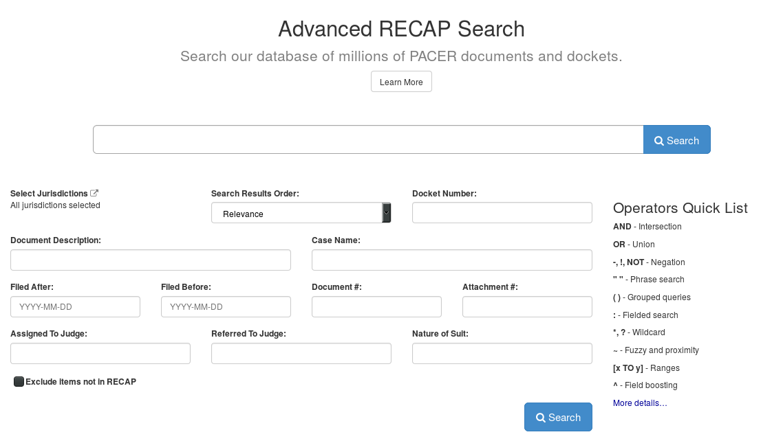 RECAP Advanced Search Screen